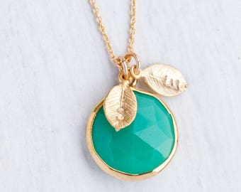 Mint Chrysoprase Necklace, Personalized Name Necklace, Chrysoprase Pendant, Gold Framed Stone, Custom Initials Necklace, Statement Necklace