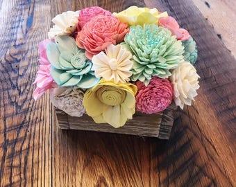 Colorful Sola Wood Flower Centerpiece- Farmhouse Decor- Rustic Decor- Wedding Centerpiece