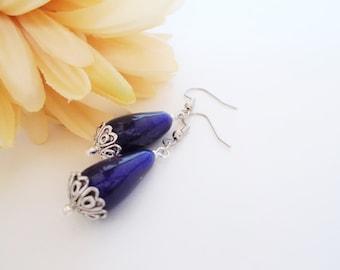 Teardrop Earrings, Navy Earrings Blue Earrings Sterling Silver, Boho Beaded Earrings Clip On, Glass Drop Earrings Bohemian, Mom Gift for Her