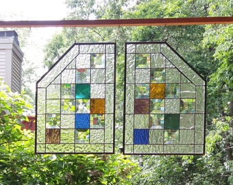 Stained glass window panels set of 2 clear beveled suncatcher home decor