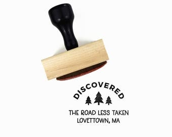 "Custom ""Discovered"" Stamp for Letterboxing - Customize Trail Name + Location (City, State) - Wood Mounted Rubber Stamp by Creatiate"