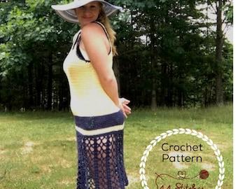 Lisbon Crochet Beach Dress Pattern, Lacey Pool Cover Up Crochet Pattern, Instant PDF Download