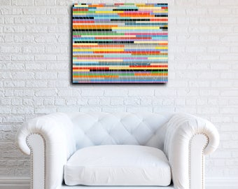 "Ninety: Original Geometric Abstract Modern Art painting on wood panel 20""x24"" colorful graphic lines and rectangles stripes"