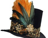 Tall Black Top Hat Velvet Fleur Gothic Steampunk Gold Brown Victorian Gentlemens Dapper Cosplay Mens