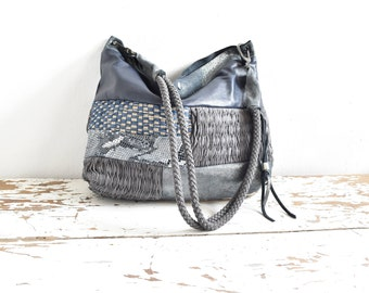 Blue  Leather and Woven Patchwork Purse in Multi Blue Shades - Ready to Ship - One of a Kind Original