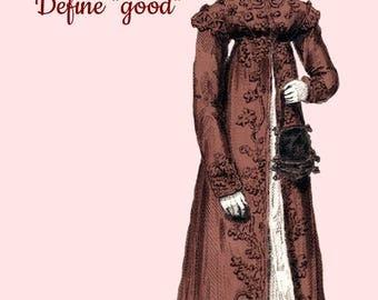 Christmas Card ~ Dear Santa, Define Good ~ Funny Christmas Postcard ~ Humor ~ Jane Austen Fashion ~ Holiday Greetings ~ Merry Christmas