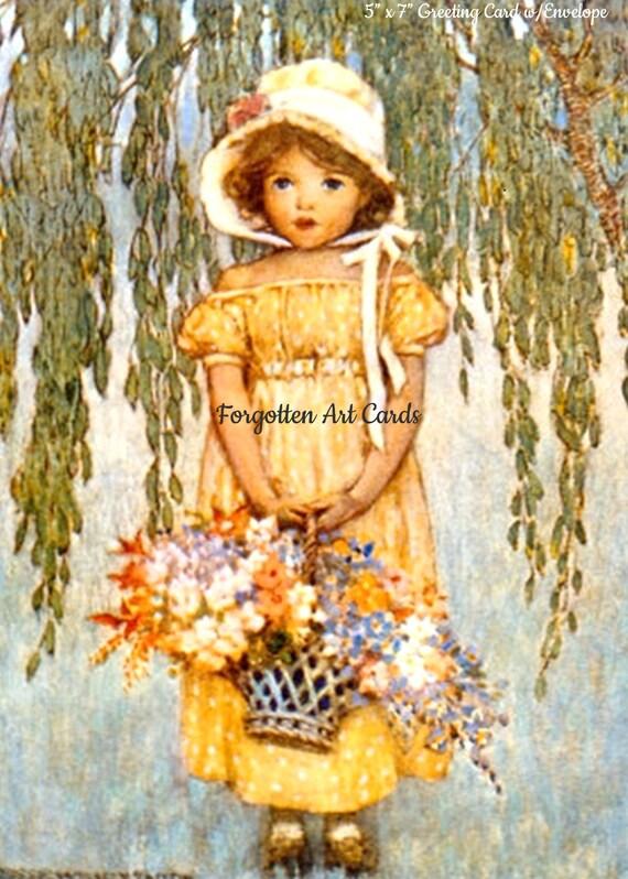 "Posey, 5""x7"" Greeting Card w/Envelope, Jessie Willcox Smith, Forgotten Art Cards, Pretty Girl Postcards, Pretty Girl, Basket, Flowers, Blue"