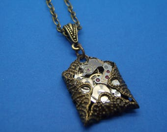 Wrapped Watch Movement Pendant Necklace