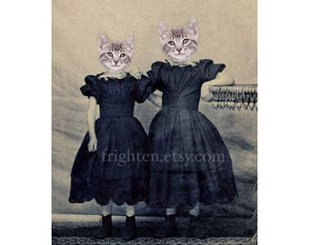 Cat Art Print, Cats in Clothes Mixed Media Collage Wall Decor 5x7 and 8x10 Inch Print, Kitten Girls, Gift for Sister