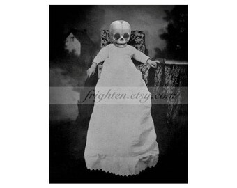 Creepy Halloween Art, Oddities, 8.5 x 11 Inch Print, Black and White, Skull Art, Macabre, Halloween Decor