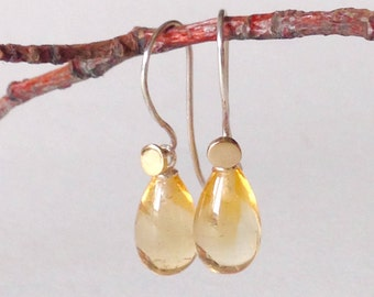 Citrine Drops Earrings, Silver, 14k Gold, ready to ship