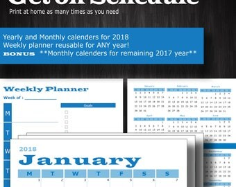 Printable Calendars and weekly planner for 2018 and remaining 2017 download digital yearly monthly