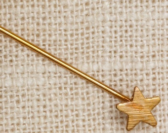 Star Stick Pin Gold Dainty Etched Vintage Stickpin 7R