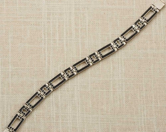 Reversible Black and White Vintage Bracelet Silver Chain Squares Rectangles Magnetic Clasp Costume Jewelry 16S