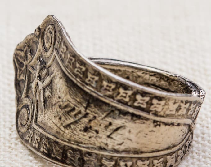 Silver Spoon Vintage Ring Pewter Etched Retro Adjustable 7RI