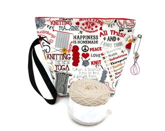 Medium Knitting Jokes and Phrases Flat Bottom Wedge Snap Yarn Project Storage Pouch S375
