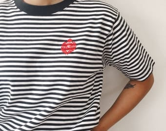 Black and White Striped Shirt / 90s Striped Tee / Embroidered Striped T Shirt / Striped Ringer Hipster Boxy Short Sleeve 90s Grunge