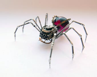 Black Widow Spider Sculpture No 87 Recycled Watch Parts Clockwork Arachnid Figurine Stems Lightbulb Arthropod A Mechanical Mind Gershenson