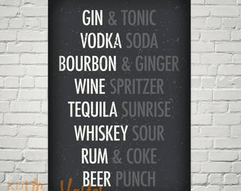 Kitchen Liquor Cocktails Mixed Drinks Subway Wall Art