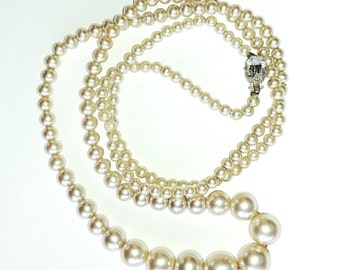 Pearl Necklace with Rhinestone Clasp Vintage Wedding Jewelry Jewellery Gift for Her