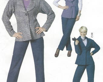 Palmer Pletsch Womens Lined Vest or Jacket, Belt and Pants Shawl Collar OOP McCalls Sewing Pattern M6211 Size 16 18 20 22 Bust 38 40 42 44