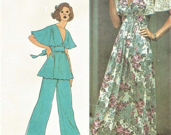 1970s Womens Flutter Sleeve Empire Waist Maxi Dress or Tunic & Pants Simplicity Sewing Pattern 6710 Size 14 Bust 36 FF Vintage Patterns