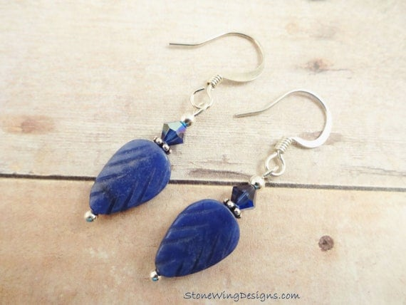 Sodalite Leaf and Swarovski Crystal Earrings
