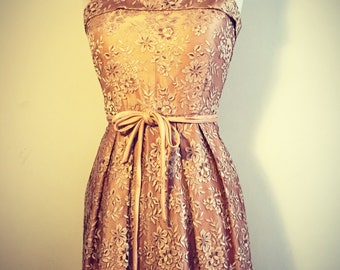 Vintage 50s Lace Satin Dress