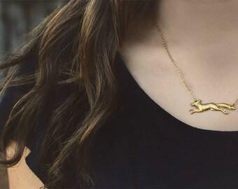Fox Sighting Necklace - Minimalist Jewelry - Boho Necklace - Animal Pendant - Layering Necklace - Statement Jewelry - Gift for Her
