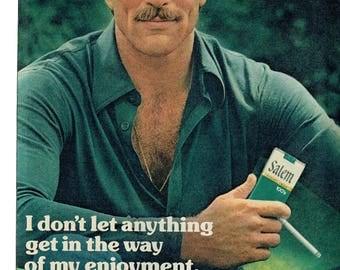 1976 Advertisement Tom Selleck for Salem Box Cigarettes 70s Celebrity Green Menthol Smoking Tobacciana  Wall Art Decor