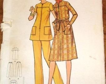 Vintage 1970s Sewing Pattern Butterick 6281 Zipped Tunic, Dress, Pants Pantsuit Womens Misses Size 22.5 Bust 45 Waist 39 Uncut Factory Folds