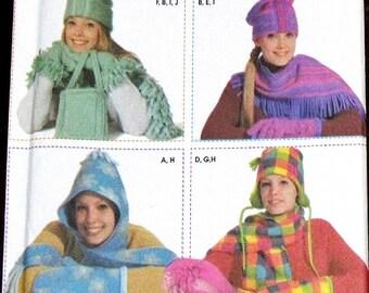 Elaine Heigl Designs Simplicity Craft Sewing Pattern 4849 Women Miss Fleece Fashion Accessories Fringe Scarf Gloves Boa Mittens Hat Uncut FF