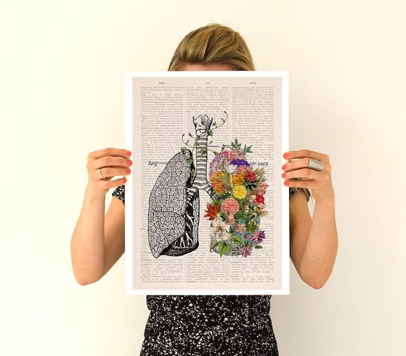 Springtime Breathe, Colorful Lungs Poster, anatomical art, Lungs art, Relaxing flower art, Human Lungs poster, Yoga art poster, SKA139PA3
