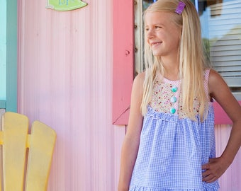 Gingham Girl Top, Sleeveless Summer Dress, Sweet Floral, Southern Charm | Baby, Toddler, Girl | Free Shipping