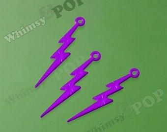 Purple Acrylic Lightning Bolt Charms, Lightning Charm Pendant, 45mm x 9mm (C2-09)