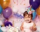 Unicorn Headband, Birthday unicorn headband, newborn unicorn headband, unicorn purple headband, felt, unicorn birthday, gold unicorn, posh