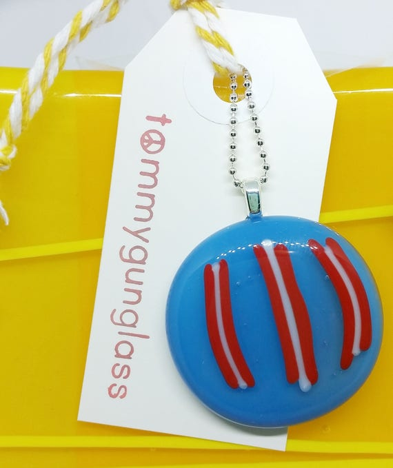 Red White Blue Glass Pendant with Silver Chain