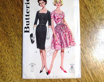 """RARE Mid Century Modern 1950s SAUCY Fitted Sheath Dress / Full Skirted Gown - Size 14 (Bust 34"""") - UNCUT ff Sewing Pattern Butterick 9962"""