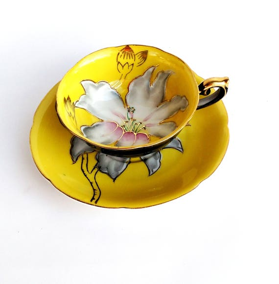 Vintage 1960's Hand Painted Black and Yellow Teacup and Saucer set by Halsey Fifth Ave Japan