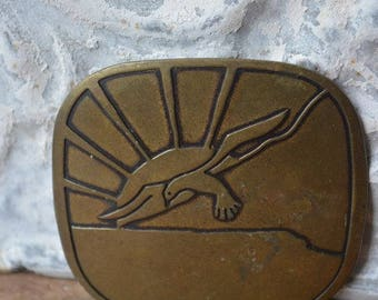 Vintage Belt Buckle, Vintage Brass Song Bird Buckle, Vintage Bird Belt Buckle