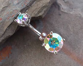 AB Crystal Prong Set Silver Belly Button Ring