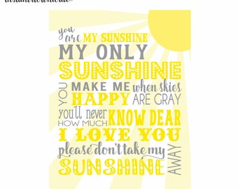 11x14 Yellow and Gray You are my sunshine Nursery Wall Art digital- you print your own- INSTANT DOWNLOAD