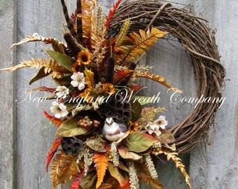 Fall Wreath, Autumn Wreaths, Fall Woodland Wreath, Partridge Pheasant Wreath, Fall Designer Wreath, Thanksgiving Wreath, Harvest Wreath