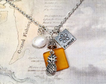 Pineapple Necklace, Pineapple Necklace Silver, Pineapple Friends Pineapple Charm Necklace, BFF Necklace, BFF Gifts, Amber Sea Glass Necklace