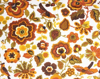 Vintage Brown Bird Upholstery Fabric by 5th Ave Designs circa 1960's . Heavy Stiff Woven Cotton Material . Orange Yellow Rustic Fall Project