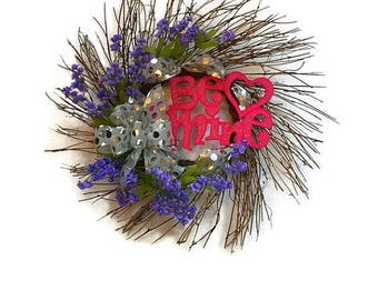 ON SALE 50% OFF Valentine's Day Wreath Rustic Twig Valentine's Day Heart Wreath Be Mine Valentine Wreath Valentine's Day Door Home Decor