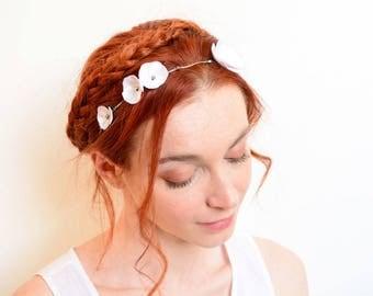 White flower bridal crown silver Swarovski rhinestones