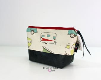 AVA Small Clutch -Campers Red with PU Leather  READY to SHIp Cosmetic Toiletries bag Travel Make Up Zipper Pouch