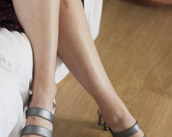 Pewter Leather Strappy Sandars