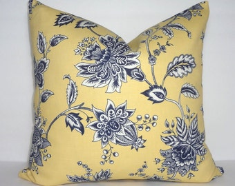 INVENTORY REDUCTION Navy White Yellow Floral Victorian Style Couch Throw Pillow Cover Size 18x18